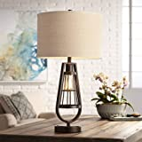 Industrial Table Lamp With Nightlight Bronze Cage Glass Lantern Brown Burlap Shade For Living