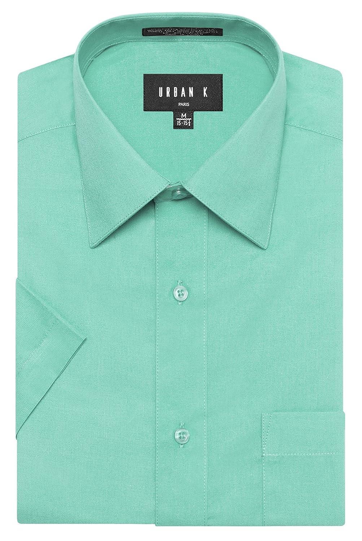 URBAN K メンズMクラシック フィット ソリッドフォーマル襟 半袖ドレスシャツ レギュラー & 大きいサイズ B073R5LGTX M|Ubk_aqua Ubk_aqua M