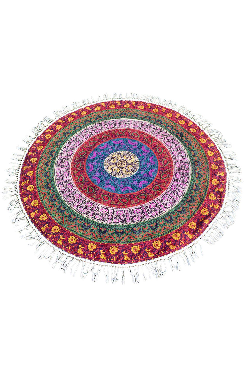 Prime Leader Cotton Mandala Round Tapestry Yoga Mat Beach Cover 63