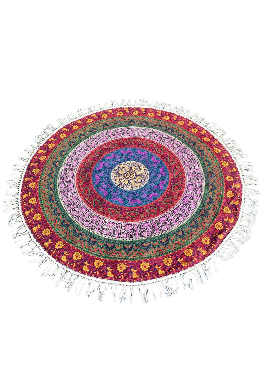 Prime Leader Cotton Mandala Round Tapestry Yoga Mat Beach Cover 63