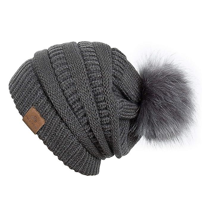 0e5be7dfe72e8 PAGE ONE Womens Fleece Lined Slouchy Beanie Chunky Baggy Hat Fur Pom Pom  Winter Soft Warm