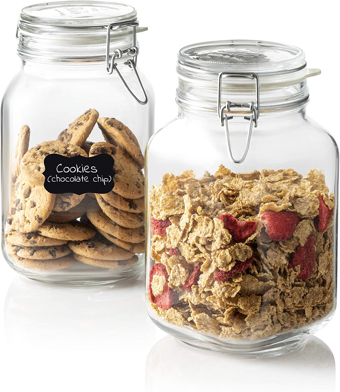Bormioli Rocco Glass Fido Jars - 67 ¾ Ounce (2 Liter) with hermetically Sealed hinged Airtight lid for Fermenting, Preserving, Bulk - dry Food Storage, With Paksh Novelty Chalkboard Label Set (2 Pack)