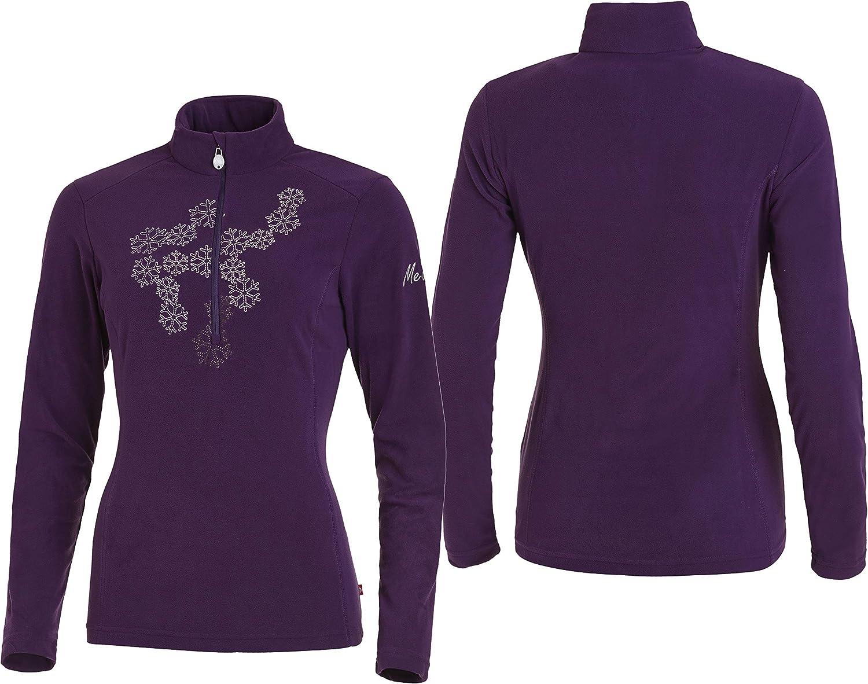 100/% Polyester langarm Fleece Medico Damen Ski Shirt Rei/ßverschluss
