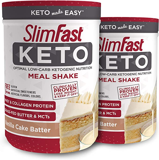 Amazon.com: SlimFast Keto Meal Replacement Shake Powder - Vanilla Cake Batter - 12.2 Oz. - 10 Servings (Pack of 2) - Pantry Friendly: Health & Personal Care