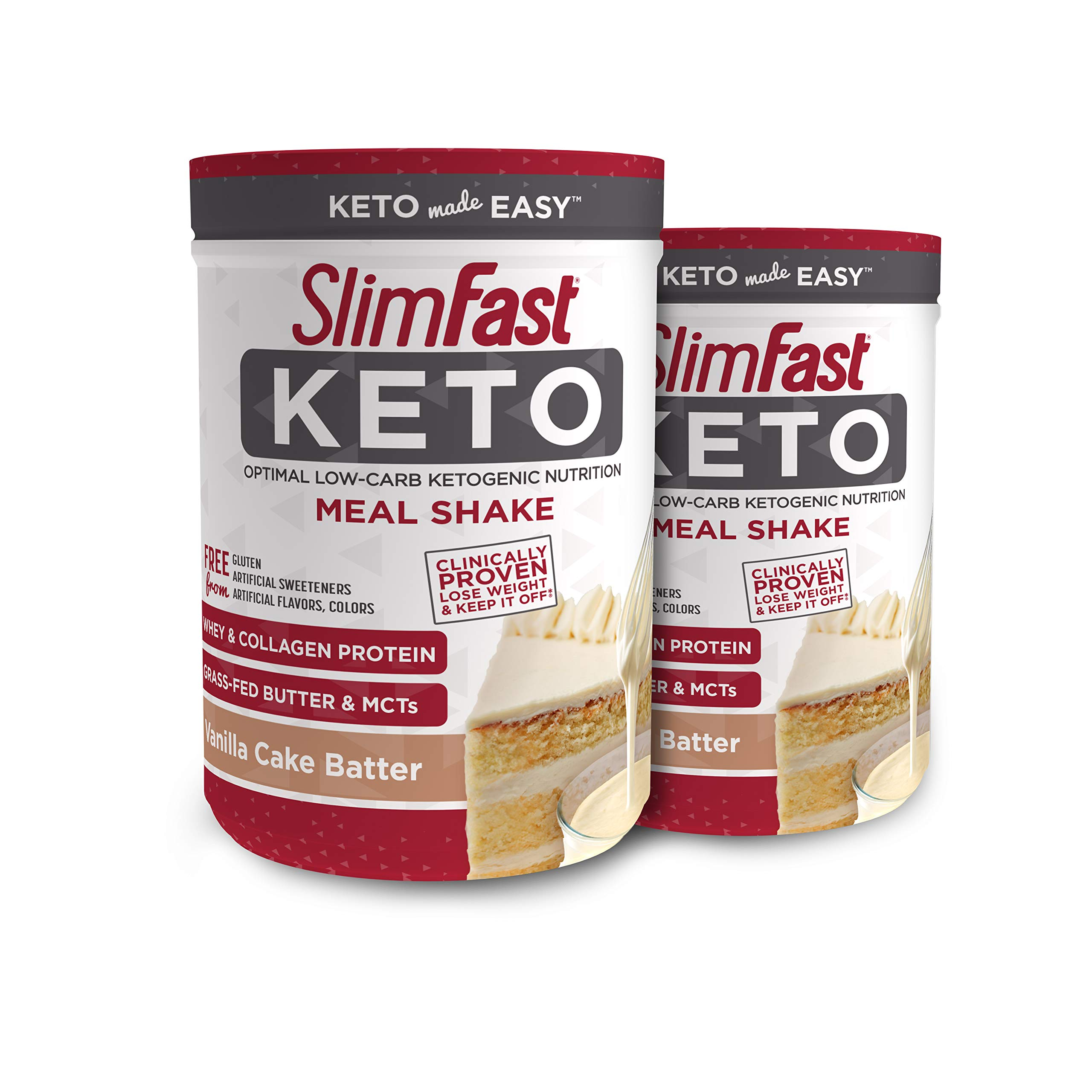SlimFast 2 Piece Keto Meal Replacement Powder Vanilla Cake Batter, 12.2 Oz, pack of 2 by SlimFast