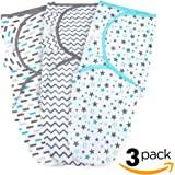 Baby Swaddle Wrap for Newborn Boys And Girls   3 Set of Adjustable Infant Blanket with Fastener Straps   Breathable Soft Cotton   0-3 Month