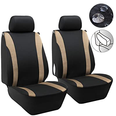 Elantrip Waterproof Beige Front Seat Covers Car Water Repellent Bucket Seat Cover Universal Airbag Armrest Compatible for Auto SUV Truck Van 2 PC: Automotive