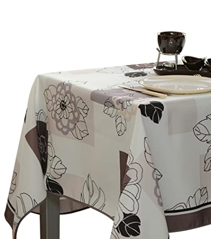 60 X 80 Inch Rectangular Tablecloth Ivory White Floral Blossom, Stain  Resistant, Washable