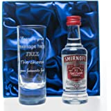 Engraved Tall Shot Glass & Smirnoff Vodka in Silk Gift Box For 18th/21st/30th/40th/Birthday/Wedding