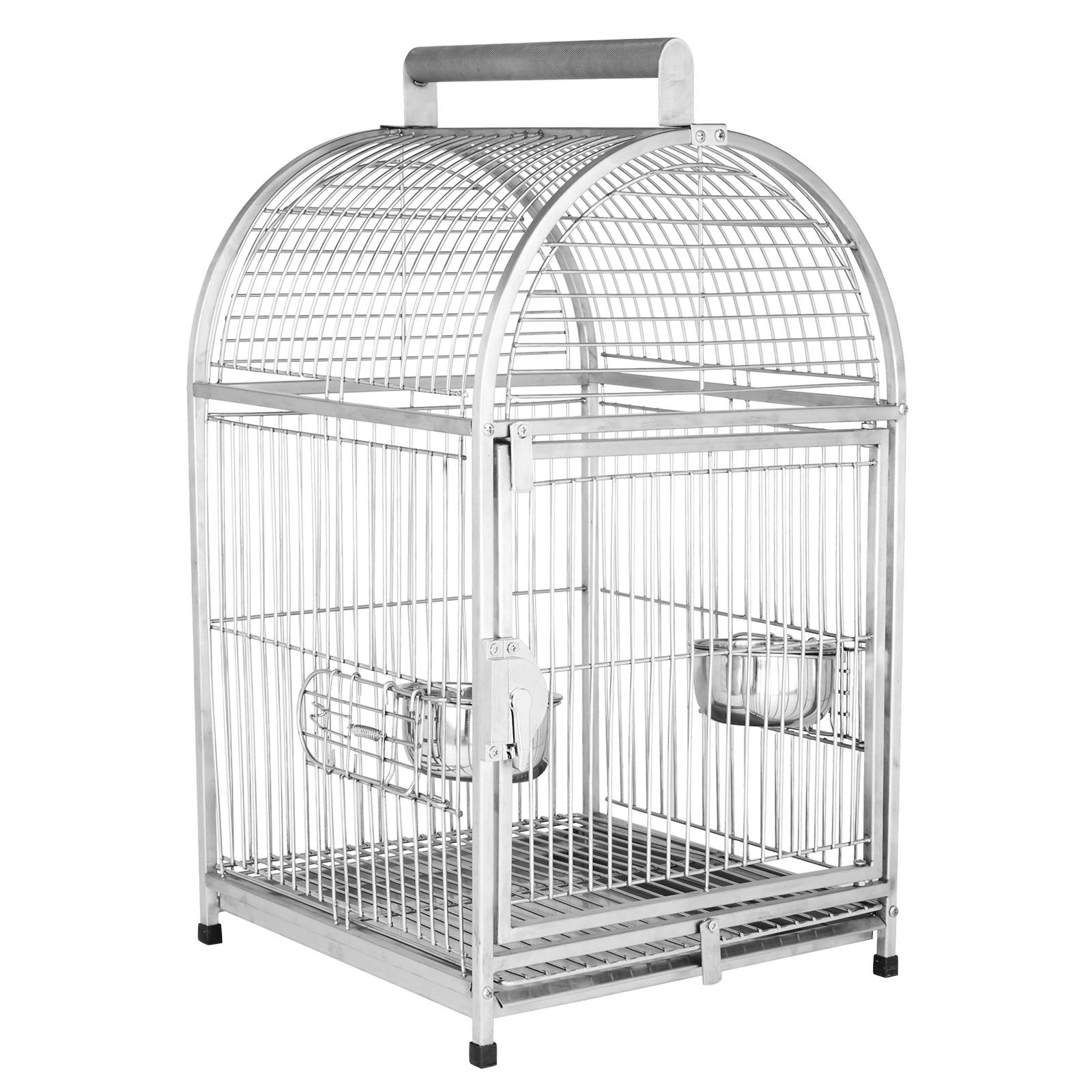 Pawhut 25'' Dome Top Stainless Steel Travel Bird Cage by PawHut