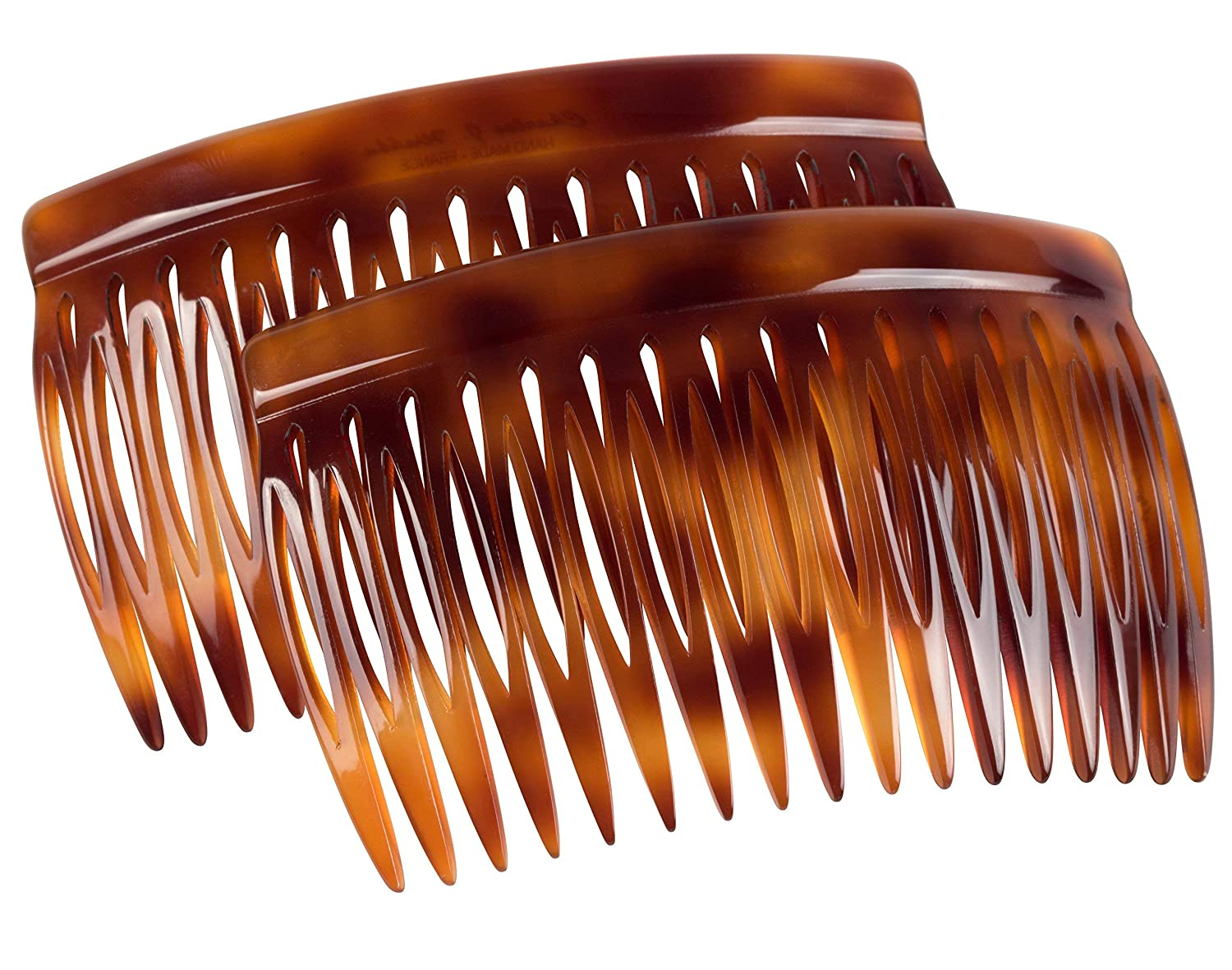 Charles J. Wahba Side Comb (Paired) - 17 Teeth (Mock Tortoise Color) Handmade in France : Decorative Hair Combs : Beauty
