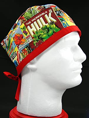 Marvel Comic Book Phrases Scrub/Surgical Hat (Handmade in the United States)