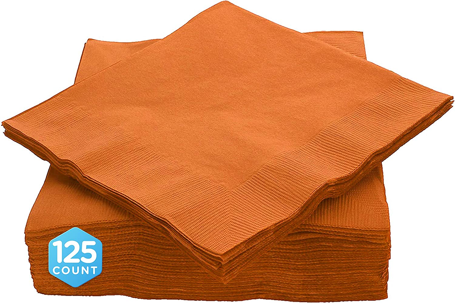 """Amcrate Big Party Pack 125 Count Orange Beverage Napkins - Ideal for Wedding, Party, Birthday, Dinner, Lunch, Cocktails. (5"""" x 5"""")"""