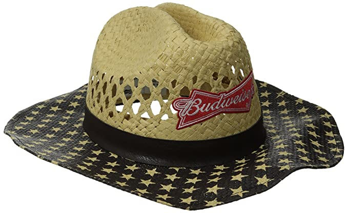 Budweiser Men s Americana Straw Cowboy Hat with Logo Patch at Amazon ... c35ba30a0aa
