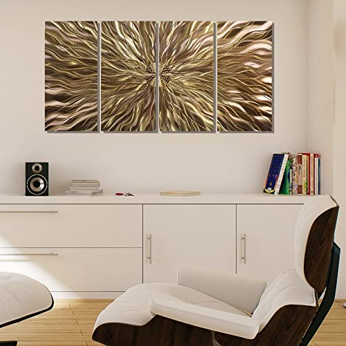 Statements2000 Electrifying Modern Earthtone Hand-Etched Metal Abstract Wall Art – Home Decor, Home Accent, Contemporary Metallic Wall Sculpture by Jon Allen – 51 x 24