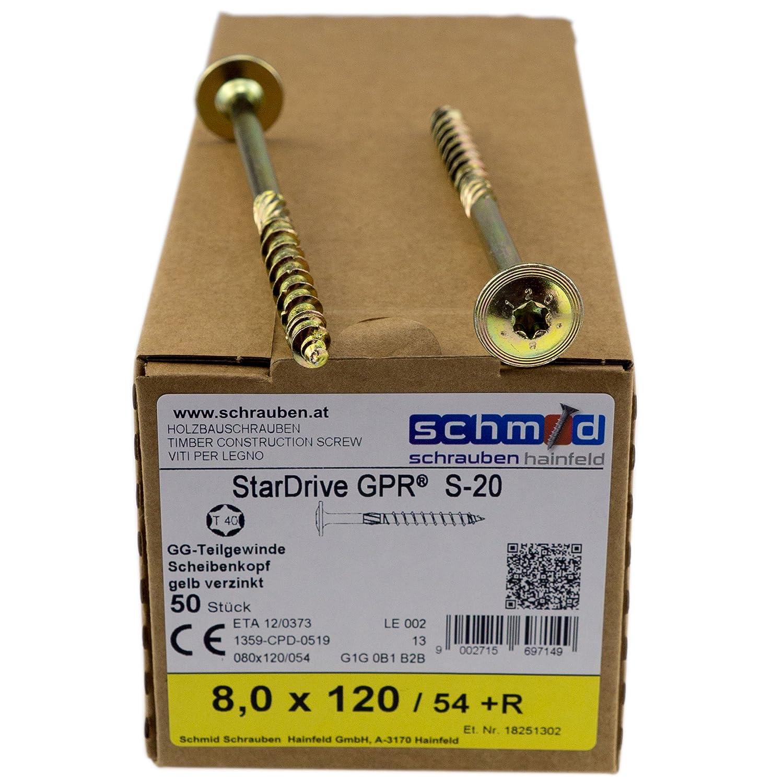 Torx 40/ /gelb verzinkt Schrauben Kopf-Dichtungsring StarDrive GPR Holzschrauben Senkkopf 8,0/x 260/mm 50-teilig mit der Annahme