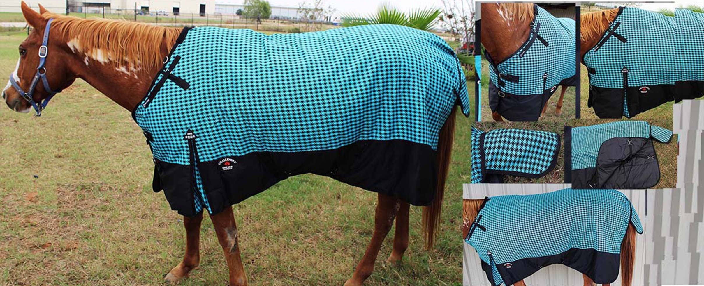 Challenger 80'' 1200D Turnout Waterproof Horse WINTER BLANKET HEAVY Turquoise 530G