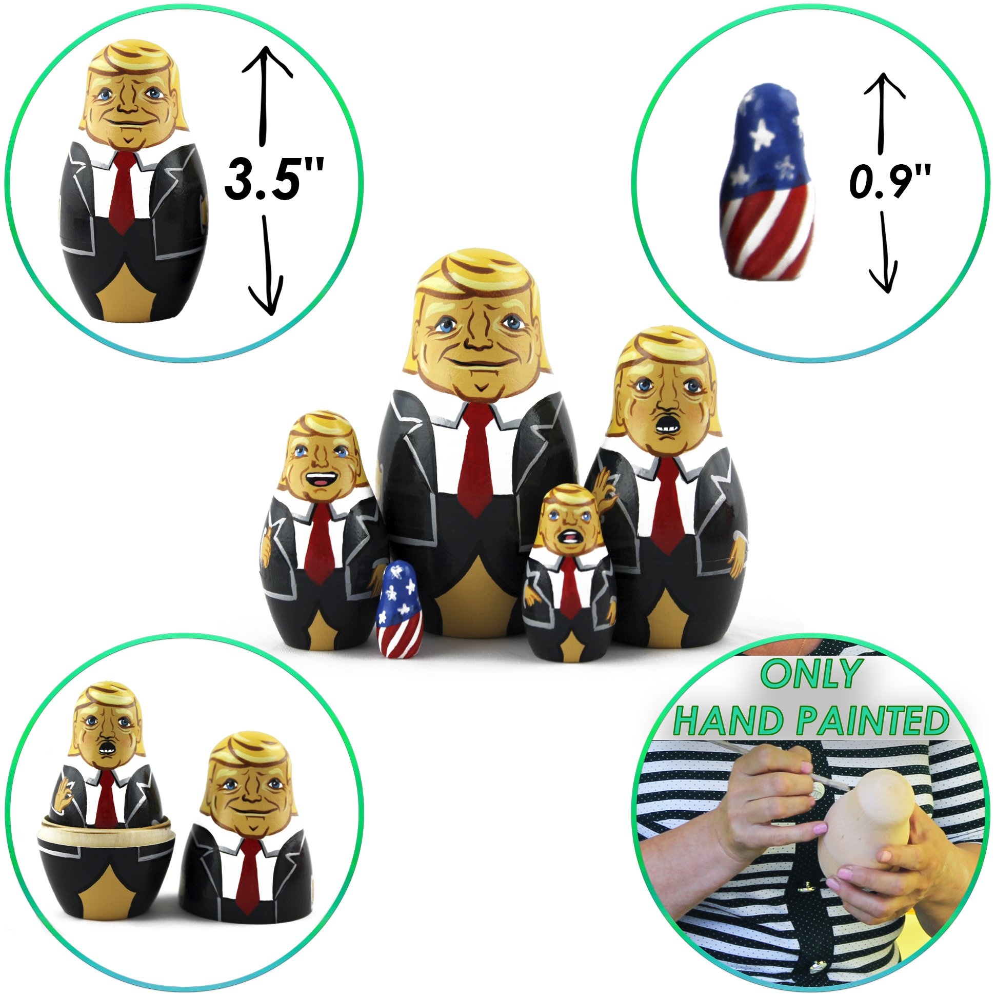 Donald Trump Gifts - Donald Trump Funny Toy Doll - Trump Nesting Dolls Gag Gifts - Set 5 pc 3.7 inches by MATRYOSHKA&HANDICRAFT (Image #5)