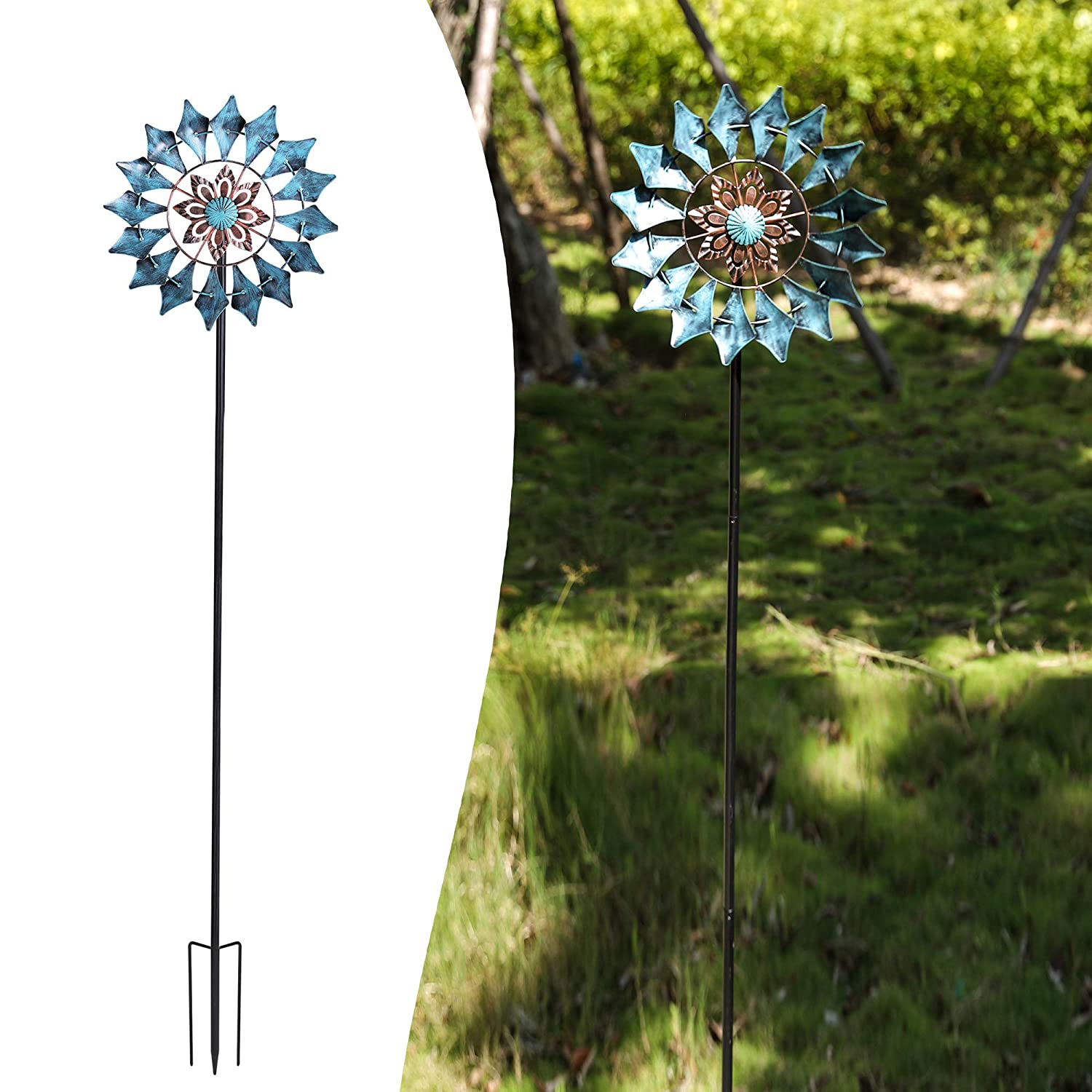 Wind Spinner Emerald 61in Single Blade Easy Spinning Kinetic Wind Spinner for Outside – Vertical Metal Sculpture Stake Construction for Outdoor Yard Lawn & Garden