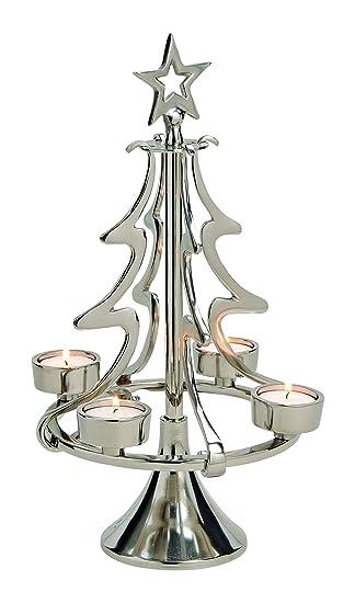 Kerzenhalter Für Weihnachtsbaum.Gw Gmbh Teelichthalter Aluminium Tannenbaum Silber Groß Kerzenhalter