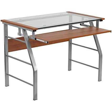 cb0a7e2487b A Line Furniture Rovis Cherry-Finished Glass Wood Metal Computer Desk with  Pull