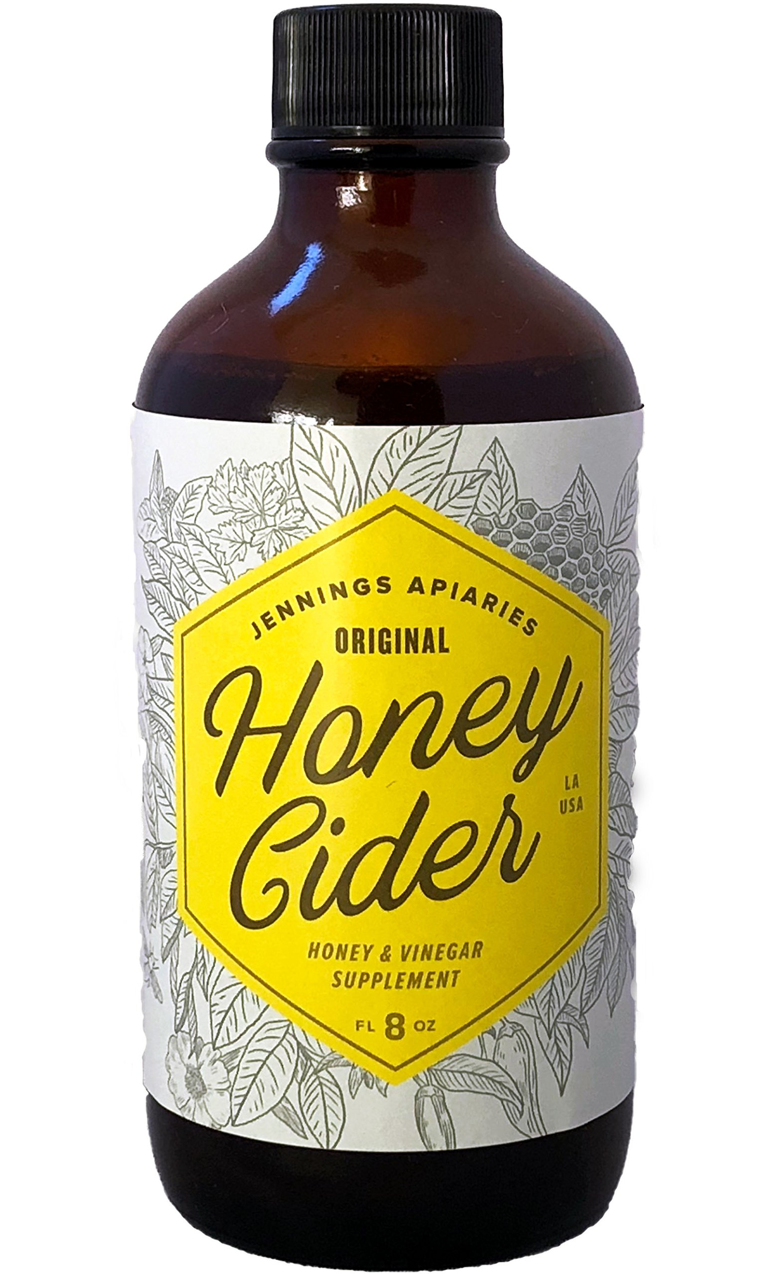 Honey Cider - Daily Apple Cider Vinegar and Honey Tonic - Fight Allergies and Colds Naturally - Made With Organic Ingredients - A Healthy Elixir Made By Beekeepers (8 oz) (8 oz Regular (Not Spicy)) by Jennings Apiaries