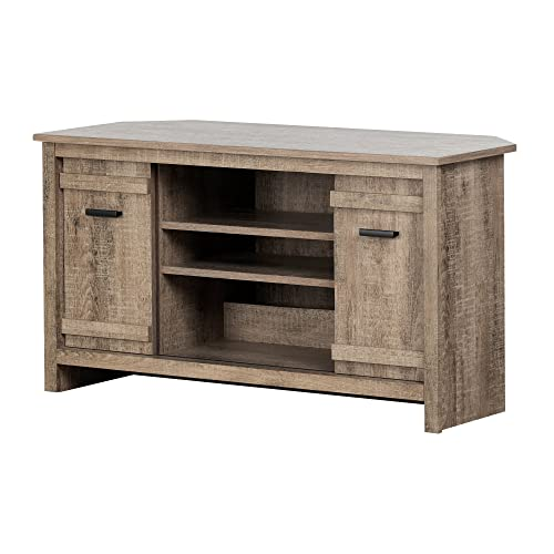 South Shore Exhibit Corner Stand, for TVs up to 42 , Weathered Oak