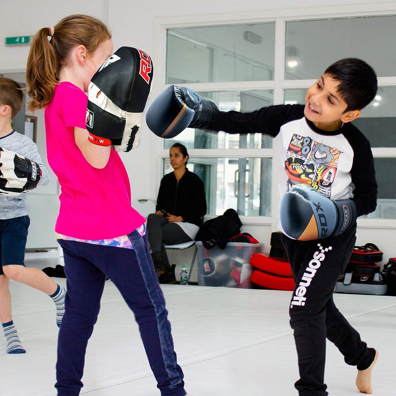 Sparring Combate Kids Boxing Gloves para Saco Boxeo y Training Maya Hide Cuero Junior 6oz Mitones para Kick Boxing RDX Guantes de Boxeo Ni/ño para Entrenamiento y Muay Thai