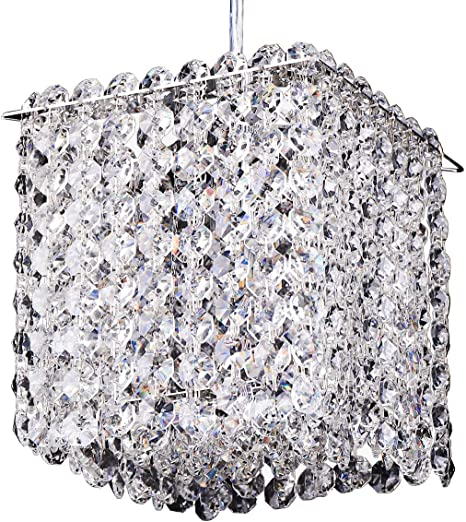 Luenfat Small Crystal Pendant Lighting Kitchen Island Mini Crystal Chandelier Bathroom 6 Inch Square 1 Light Adjustable Cord Mirror Stainless Steel Chrome Frame Dressing With Clear Crystal Strand Amazon Com