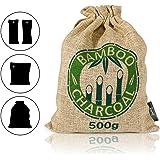 Amazy Bambus Lufterfrischer mit Aktivkohle – Vielfältig einsetzbarer Luftreiniger für Wohnzimmer, Schlafzimmer, Küche, WC, Auto etc. – Schadstofffrei und 100% biologisch abbaubar (500 g | Braun)
