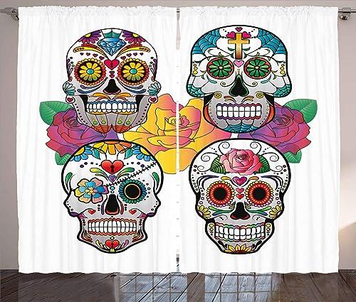 Ambesonne Sugar Skull Curtain