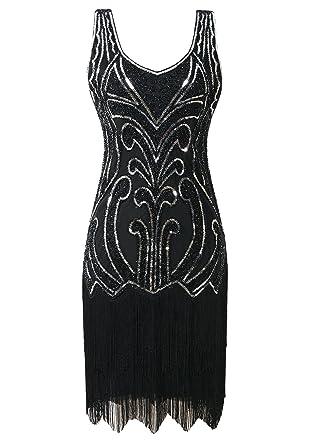 94a6aa27e2d Mesisan Women s 1920s Flapper Dresses V Neck Vintage Gatsby Bead Sequin  Fringed Great Gatsby Dress(