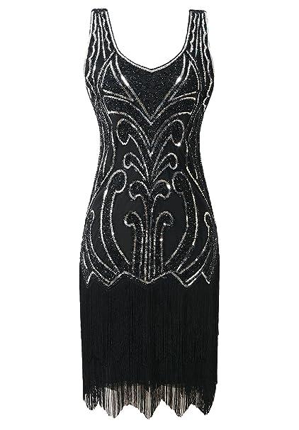 215a1aa89f9b0 Mesisan Women's 1920s Flapper Dresses V Neck Vintage Gatsby Bead Sequin  Fringed Great Gatsby Dress