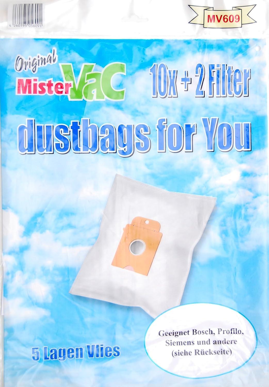 Mister Vac MV 609 - Juego de bolsas de tela con 5 capas (20 bolsas y 4 filtros para aspiradoras Bosch y Siemens big bag, 3 L): Amazon.es: Hogar