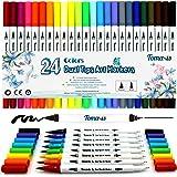24 bolígrafos para colorear, punta de fieltro de 0,4 mm, rotuladores de punta doble, rotuladores de pincel, bolígrafos de dibujo simulación acuarela.