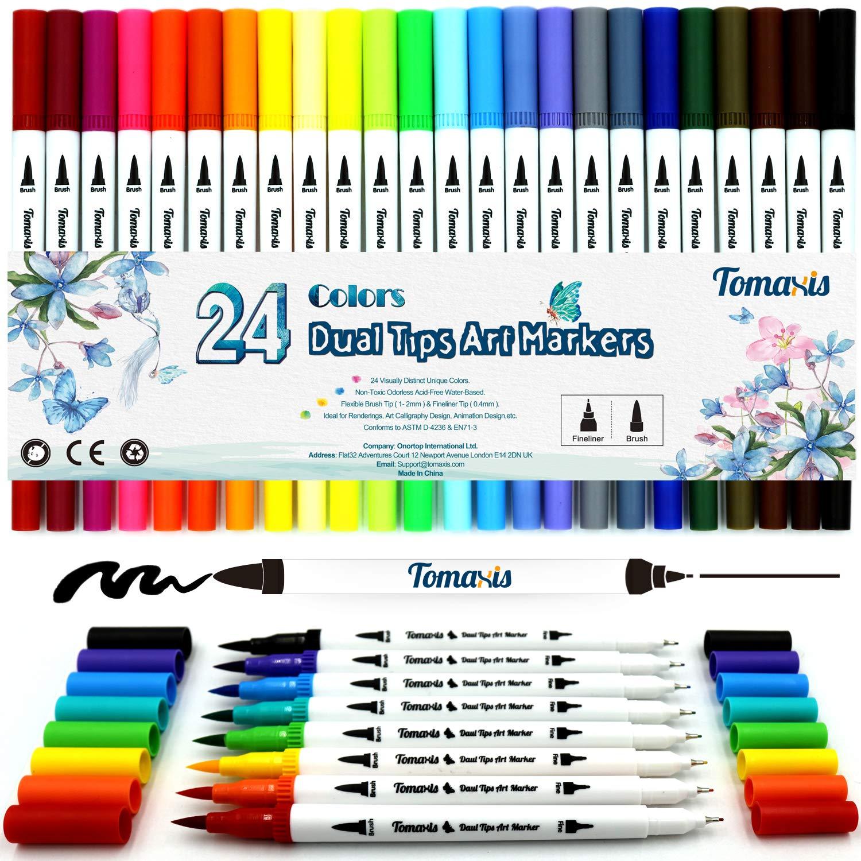 24 bolígrafos para colorear, punta de fieltro de 0,4 mm