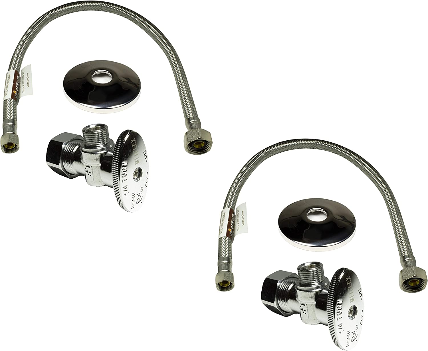OD Compression Outlet Angle Shut Off Valve Escutcheon Plate 2 Pack 20 Long Stainless Steel Braided Faucet Water Supply Line Complete Set 1//2 in NOM Inlet x 3//8 in