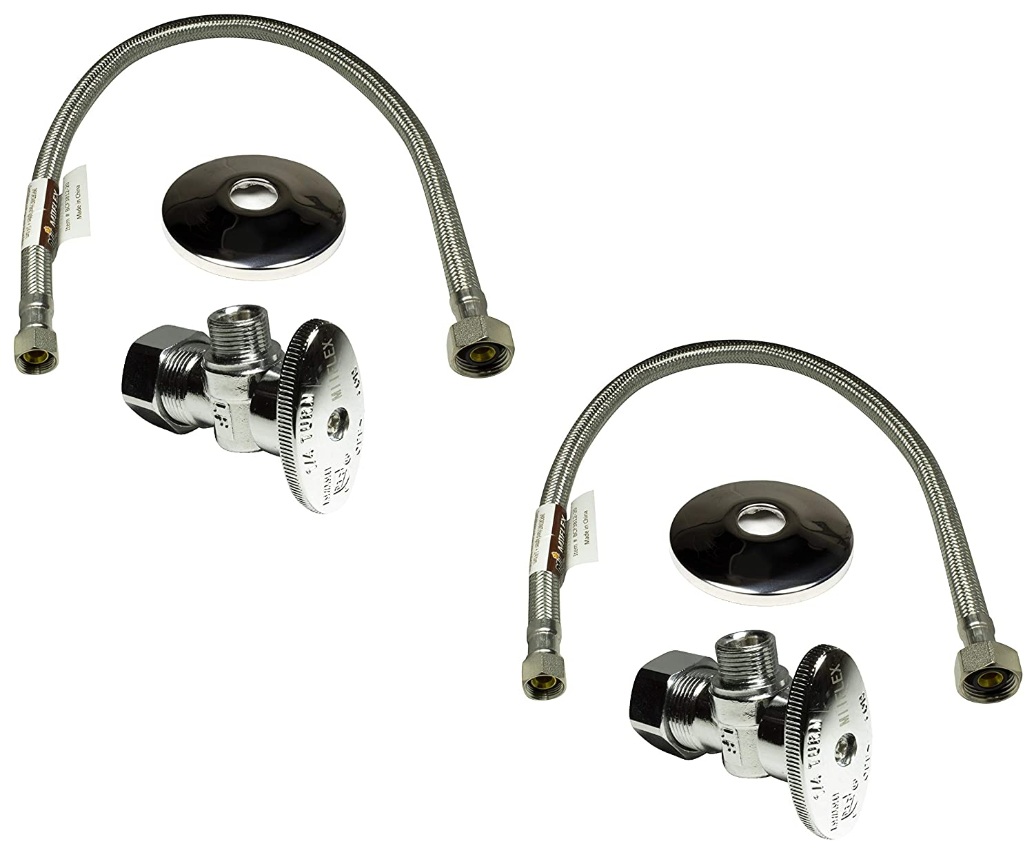 "Complete Set 1/2 in. NOM Inlet x 3/8 in. OD Compression Outlet Angle Shut Off Valve + Escutcheon Plate + 20"" Long Stainless Steel Braided Faucet Water Supply Line (2 Pack)"