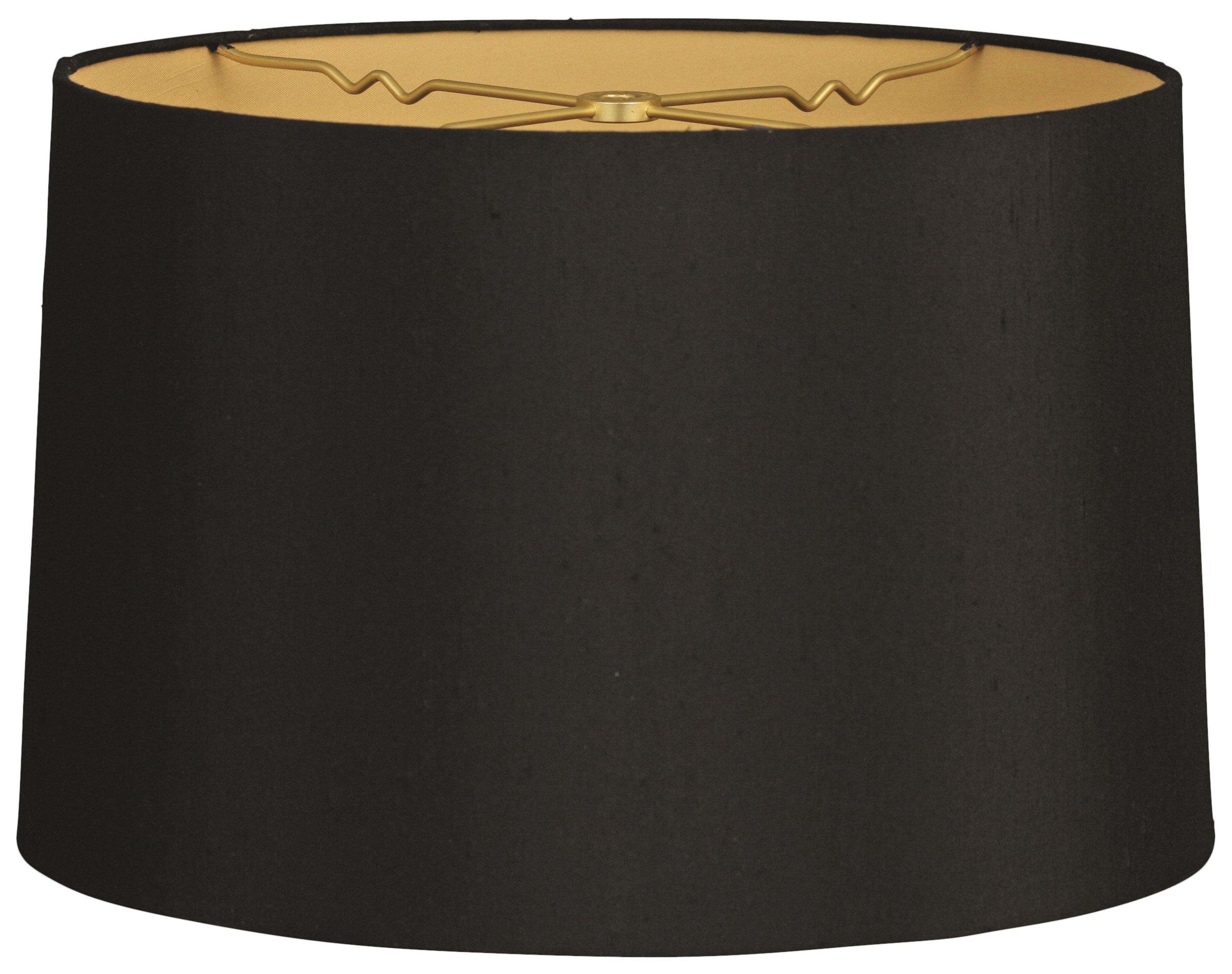 Royal Designs HB-610-18BLK/GL Shallow Drum Hardback Lamp Shade, 17 x 18 x 11.5, Black