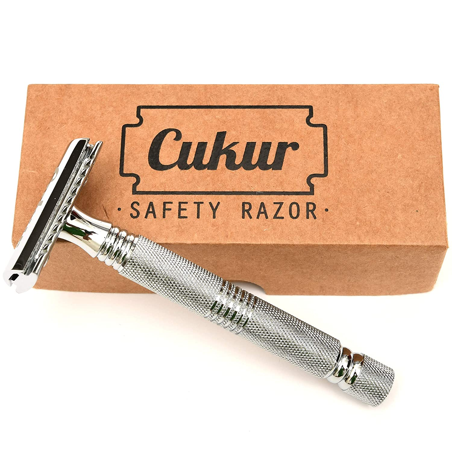 CUKUR Double Edge Safety Razor + 5 blades (Long handle)