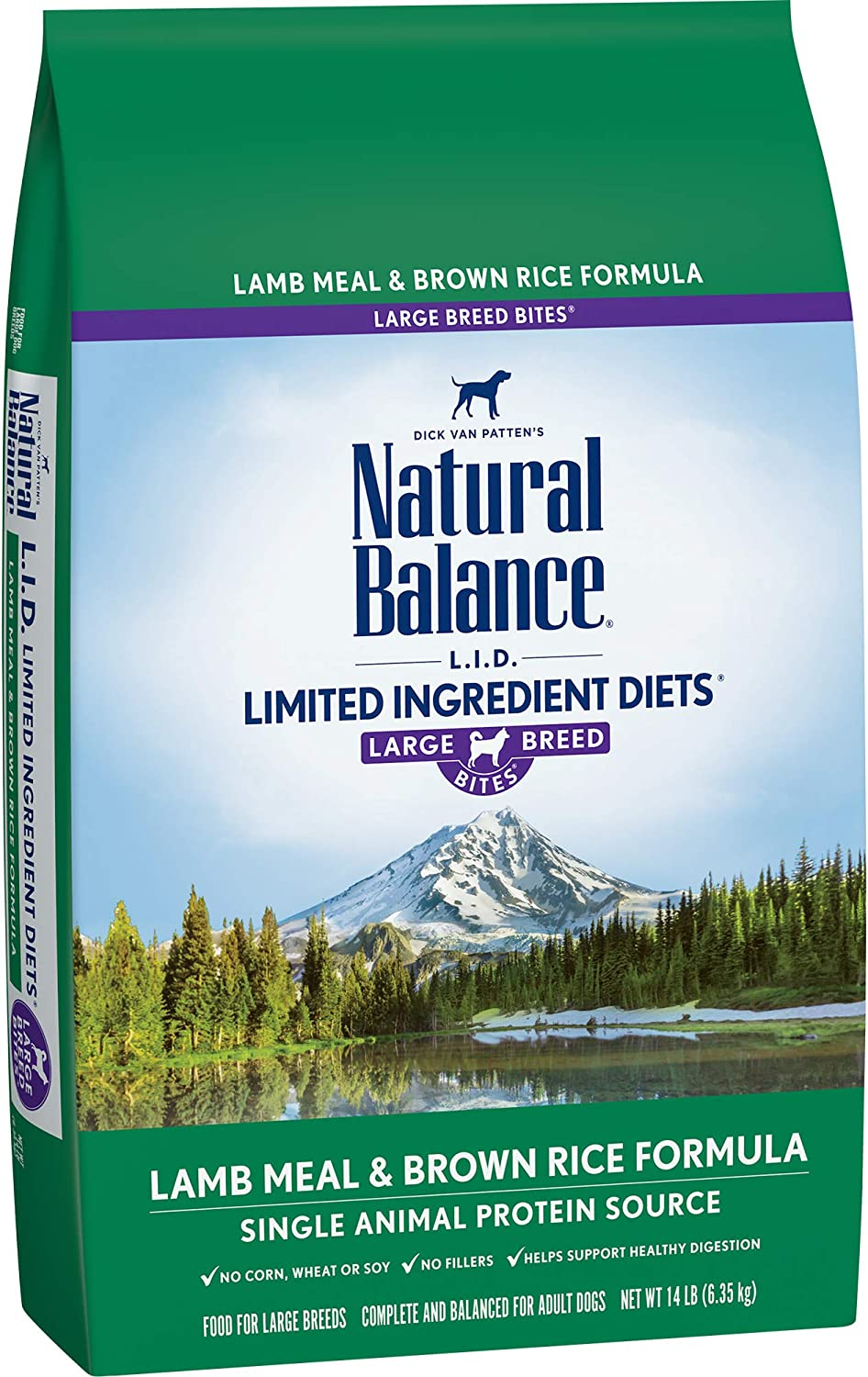 Natural Balance L.I.D. Limited Ingredient Diets Large Breed Bites Dry Dog Food, Lamb Meal Brown Rice