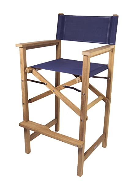 SeaTeak Captainu0027s Chair With Seat Cover, Blue, 30 Inch