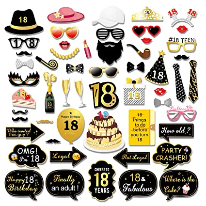 Konsait 55pcs 18th Birthday Photo Booth Props Black And Gold Happy 18 Birthday Decorations Girls Boys Diy Photo Booth Props Kits Party Accessories Or