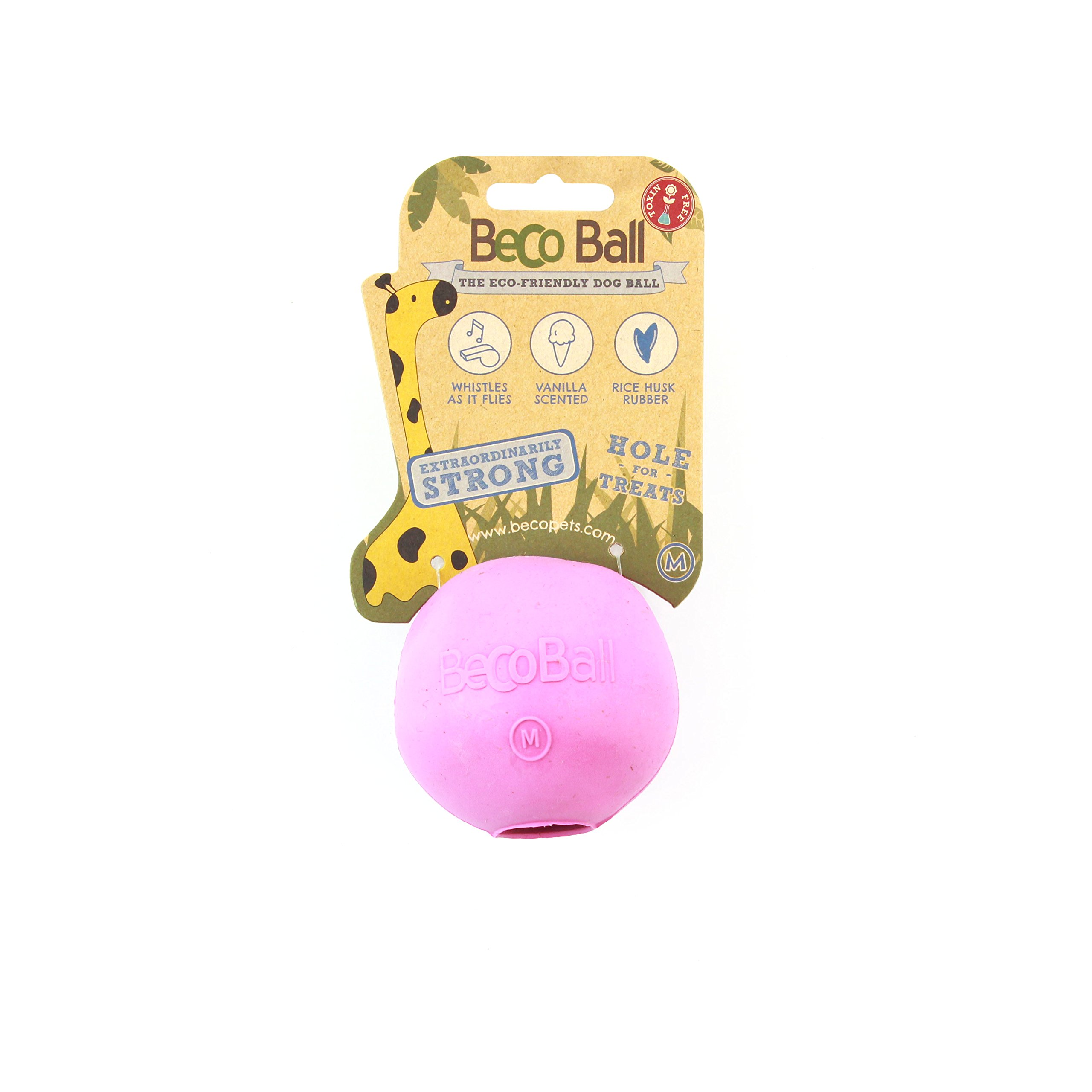 Beco Ball - Natural Rubber Hollow Chew Toy For Dogs - Extra Strong - M - Pink