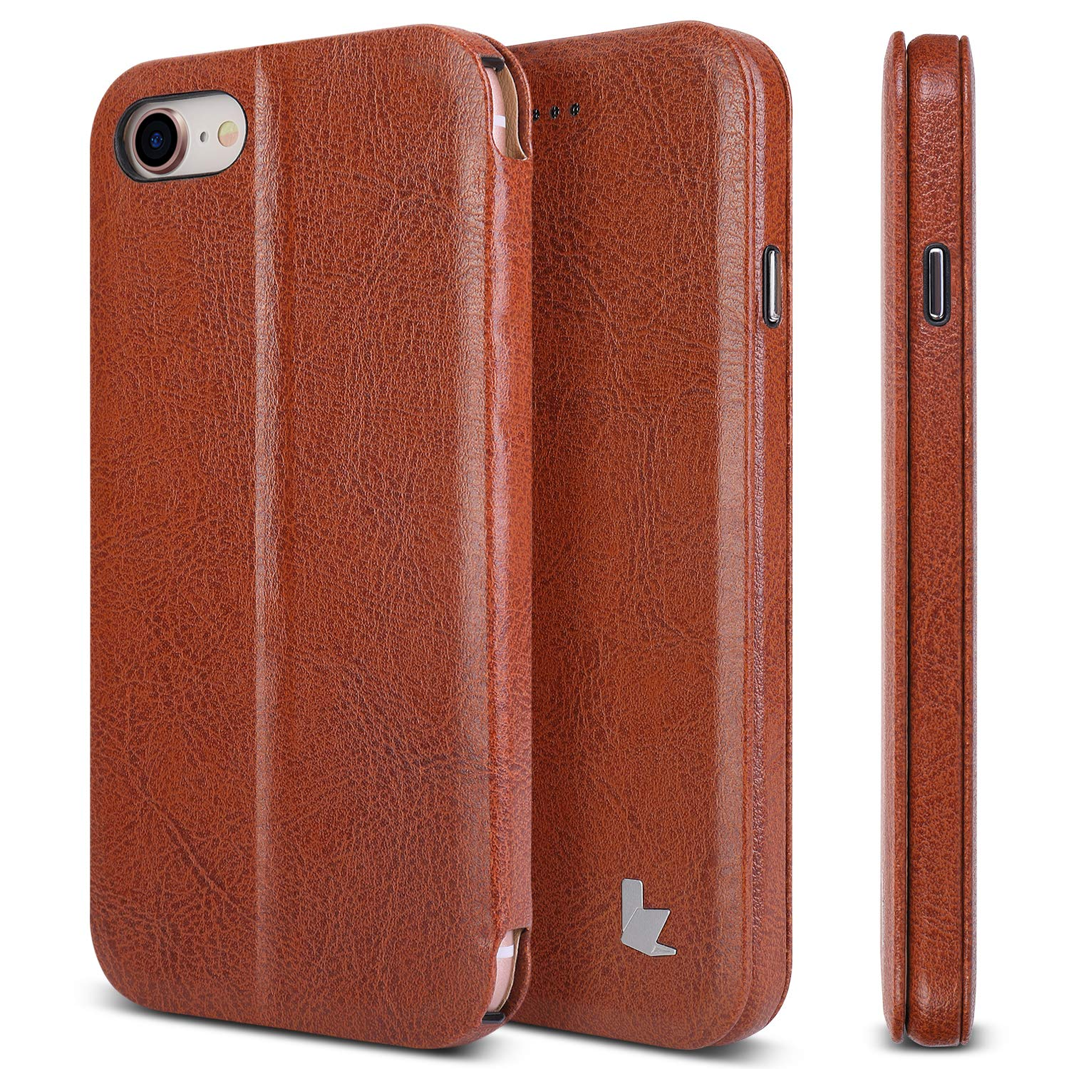 d63e72a26db JISONCASE iPhone 8 Case, Slim Folio Pu Leather Stand Case/Cover for Apple  iPhone 8 iPhone 7 Magnetic Flip Folio Sleeve Case(Gift Boxed) Brown  JS-IP8-02M20