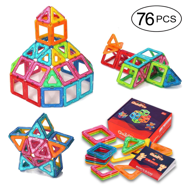 QUADPRO 76ピースマグネティック積み立てブロック ボーイズ&ガールズ用玩具 キッズ用マグネットタイルキット B01MG5L9AK