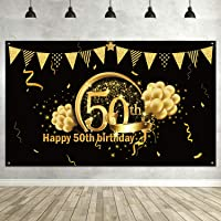 50th Birthday Black Gold Party Decoration, Extra Large Fabric Black Gold Sign Poster for 50th Anniversary Photo Booth Backdrop Background Banner, 50th Birthday Party Supplies
