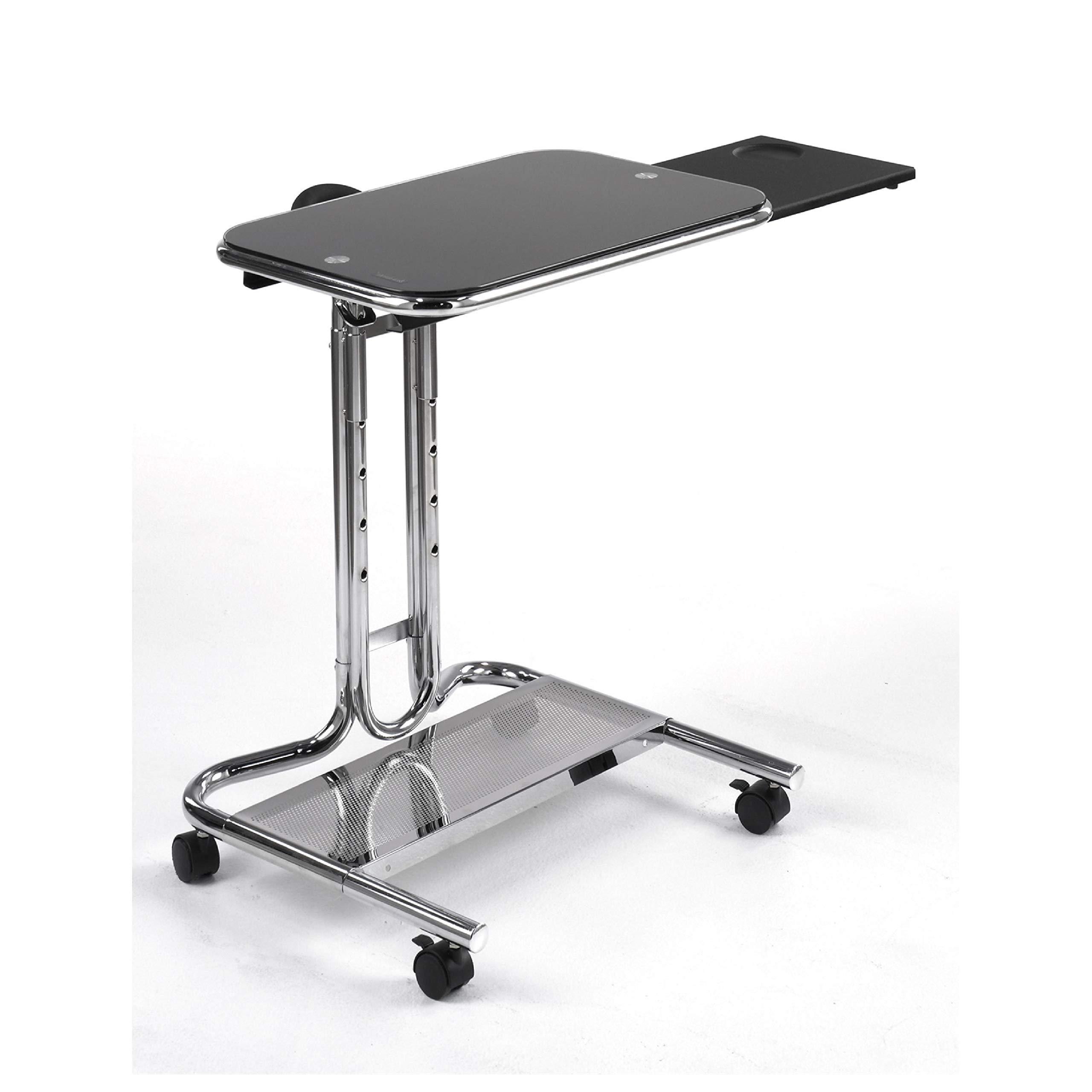 Computer Desks, Mobile Laptop Computer Desk Cart with Black Glass Top by HEATAPPLY