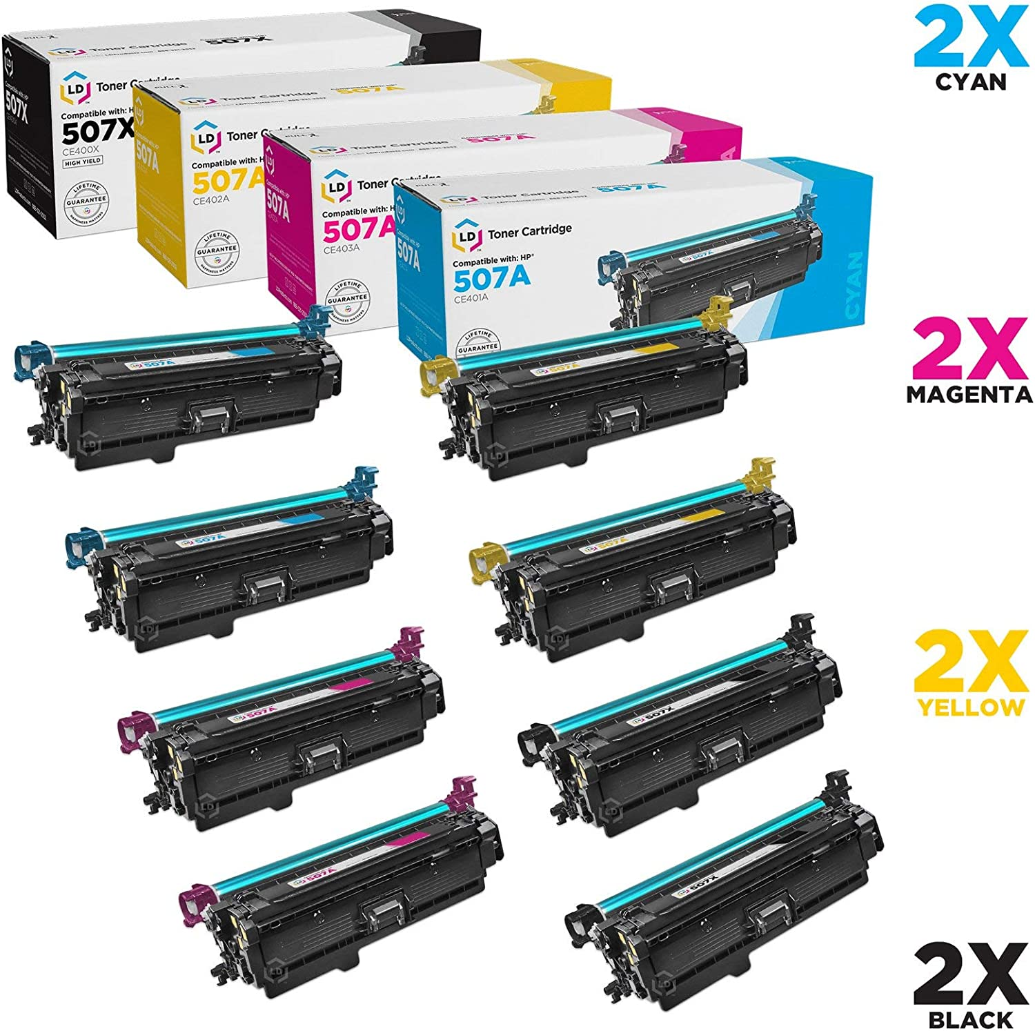 LD Remanufactured Toner Cartridge Replacements for HP 507A & HP 507X High Yield (2 Black, 2 Cyan, 2 Magenta, 2 Yellow, 8-Pack)