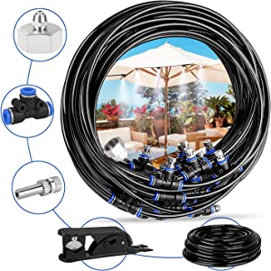 "Deyard Misting Cooling System 65.6 FT (20M) with 18 Copper Metal Mist Nozzles and a Connector(3/4"") for Trampoline Patio Misting Micro Flow Watering Automatic Distribution System"